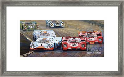 Ferrari Vs Porsche 1970 Watkins Glen 6 Hours Framed Print by Yuriy  Shevchuk