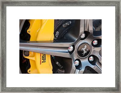 Ferrari Wheel - Brake Emblem Framed Print by Jill Reger