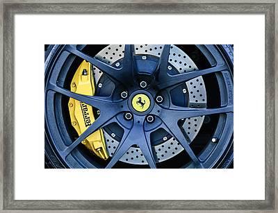 Ferrari Wheel Emblem - Brake Emblem -0430c Framed Print by Jill Reger