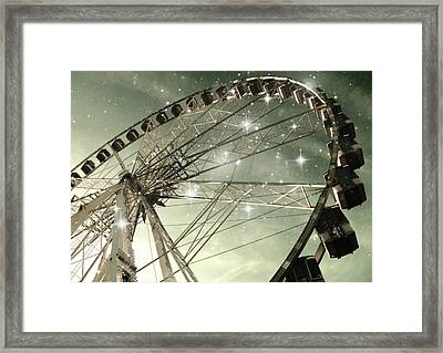 Ferris Wheel At Night In Paris Framed Print by Marianna Mills