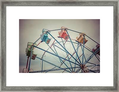 Ferris Wheel Vintage Photo In Newport Beach California Framed Print by Paul Velgos