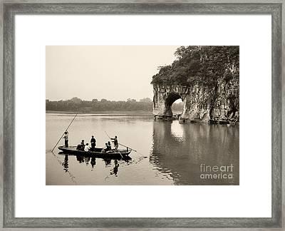 Ferry At Elephant's Trunk Hill Framed Print by Nigel Fletcher-Jones