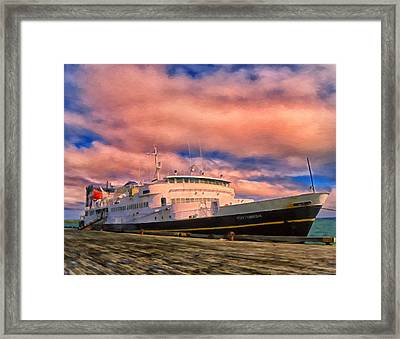 Ferry Dockside At Cold Bay Framed Print by Michael Pickett