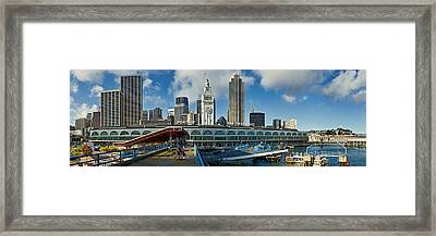 Ferry Terminal With Skyline At Port Framed Print by Panoramic Images