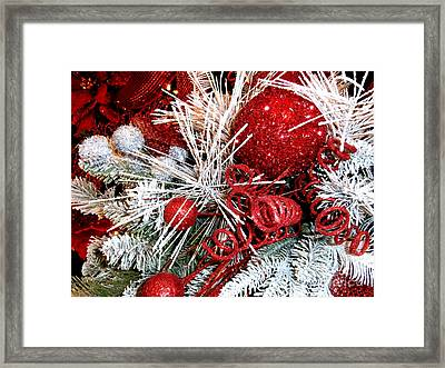 Festive Red And White Framed Print by Janine Riley