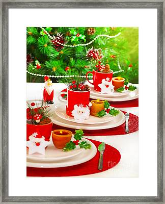 Festive Table Setting Framed Print by Anna Om