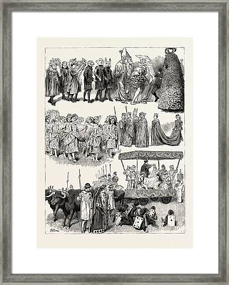 Festivities At St. Mary Cray, Kent, Engraving 1890 Framed Print by English School