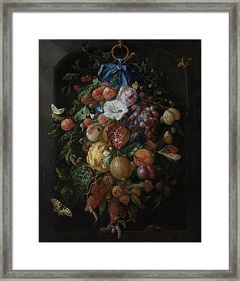 Festoon Of Fruit And Flowers Framed Print by Quint Lox