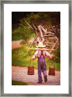 Fetch A Pail Of Water - Artistic Framed Print by Chris Bordeleau