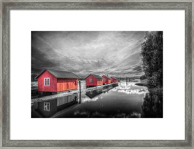 Fetsund Timber Booms Framed Print by Erik Brede