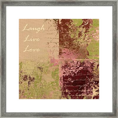 Feuilleton De Nature - Laugh Live Love - 01c4at Framed Print by Variance Collections