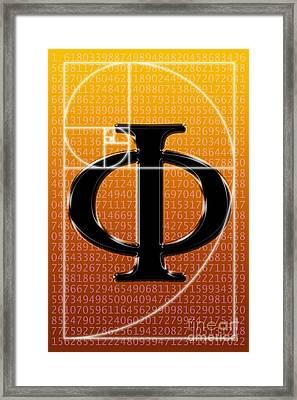 Fibonacci Spiral And Phi, Computer Framed Print by Seymour