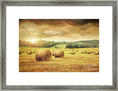 Field Of Freshly Bales Of Hay With Beautiful Sunset Framed Print by Sandra Cunningham