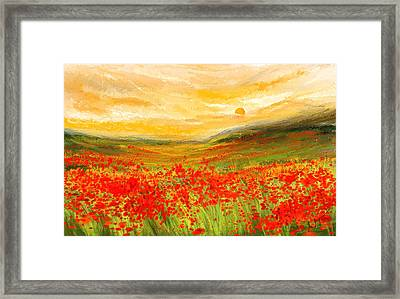 Field Of Poppies- Field Of Poppies Impressionist Painting Framed Print by Lourry Legarde