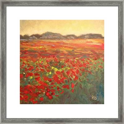 Field Of Poppies Framed Print by Robie Benve
