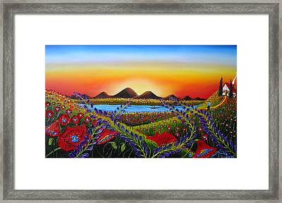 Field Of Red Poppies At Dusk 3 Framed Print by Portland Art Creations