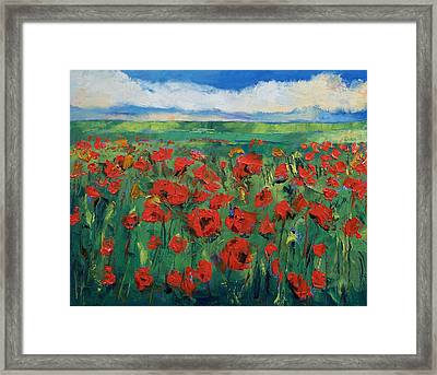 Field Of Red Poppies Framed Print by Michael Creese