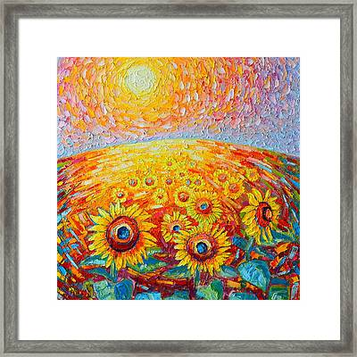 Fields Of Gold - Abstract Landscape With Sunflowers In Sunrise Framed Print by Ana Maria Edulescu