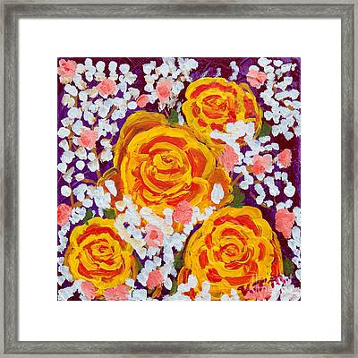 Fiery Bouquet Framed Print by Vicki Maheu