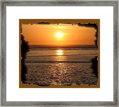 Fiery Cannon Beach Sunset Framed Print by Will Borden