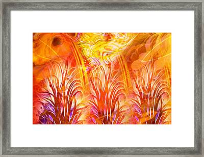 Fiery Fractal Framed Print by Lutz Baar