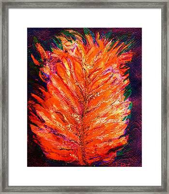 Fiery Leaf Framed Print by Anne-Elizabeth Whiteway