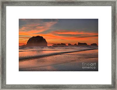 Fiery Ripples In The Surf Framed Print by Adam Jewell
