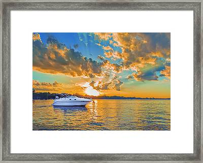 Fiery Sunset On Lake Minnetonka Framed Print by Bill Tiepelman
