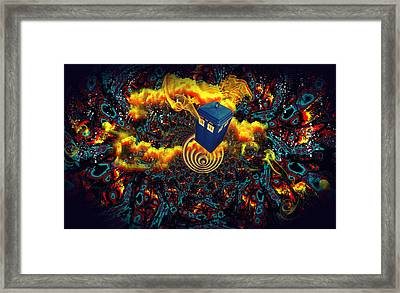 Fiery Time Vortex Framed Print by Digital Art Cafe
