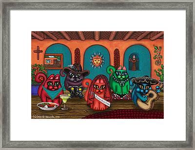 Fiesta Cats II Framed Print by Victoria De Almeida
