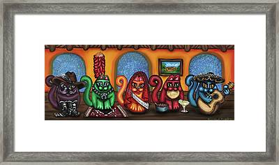 Fiesta Cats Or Gatos De Santa Fe Framed Print by Victoria De Almeida