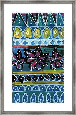 Fiesta In Blues- Abstract Pattern Painting Framed Print by Linda Woods