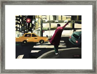 Fifth Avenue Taxi New York City Framed Print by Beverly Brown
