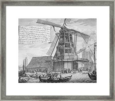 Fighting A Fire In A Windmill Framed Print by Dutch School