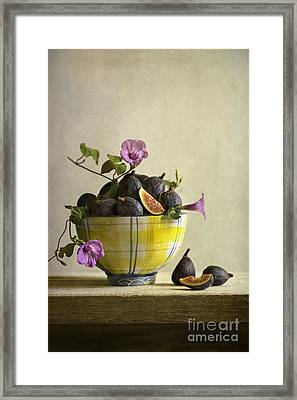 Figs In Yellow Bowl Framed Print by Elena Nosyreva