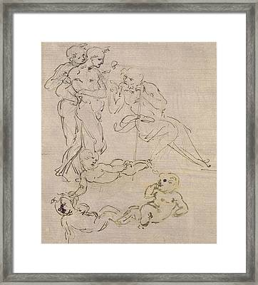 Figural Study For The Adoration Of The Magi Framed Print by Leonardo Da Vinci