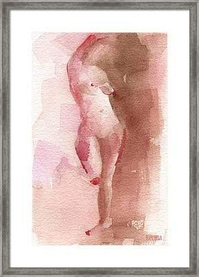 Figure Red Brown Magenta Watercolor Painting Framed Print by Beverly Brown