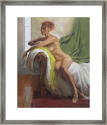 Figure With Chartreuse Scarf Framed Print by Anna Rose Bain