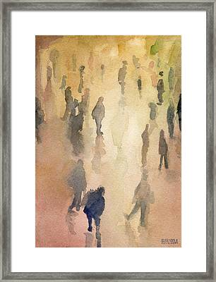 Figures Grand Central Station Watercolor Painting Of Nyc Framed Print by Beverly Brown Prints