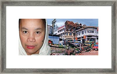 Filipina Woman And Her Earthquake Damage City Framed Print by Jim Fitzpatrick