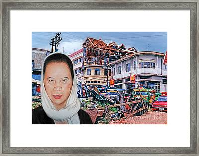 Filipina Woman And Her Earthquake Damage City Version II Framed Print by Jim Fitzpatrick