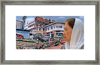 Filipina Woman And Her Earthquake Damage City Version IIi Framed Print by Jim Fitzpatrick
