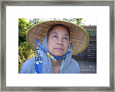 Filipina Woman With A Mole On Her Cheek And Wearing A Conical Hat II Framed Print by Jim Fitzpatrick