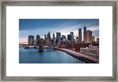 Financial District At Dusk Framed Print by Mihai Andritoiu