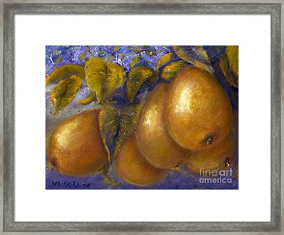 Fine Art Golden Pears With Blue And Green Framed Print by Lenora  De Lude