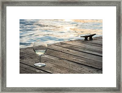 Finger Lakes Wine Tasting - Wine Glass On The Dock Framed Print by Photographic Arts And Design Studio