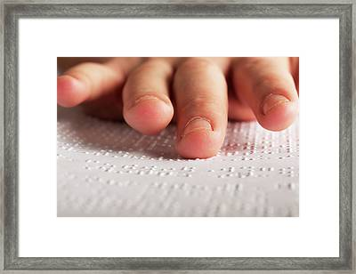 Fingers Touching Braille Framed Print by Mauro Fermariello