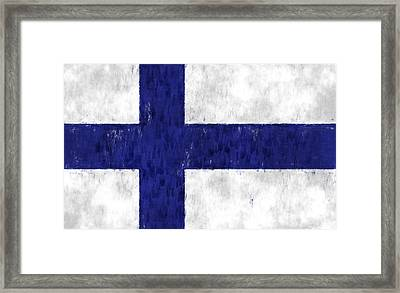 Finland Flag Framed Print by World Art Prints And Designs
