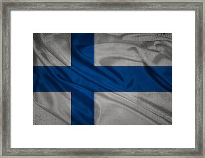 Finnish Flag Waving On Canvas Framed Print by Eti Reid