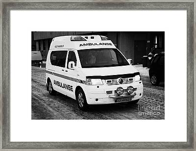 Finnmark Health Service Ambulance Honningsvag Norway Europe Framed Print by Joe Fox